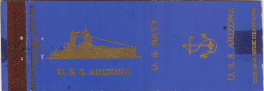 USS Arizona Matchcover issued before it was sunk in Pearl Harbor