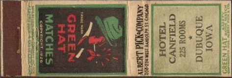 Green Hat Matchcover & Matchbook