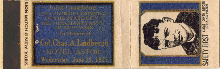 Charles Lindberg luncheon matchcover / matchbook